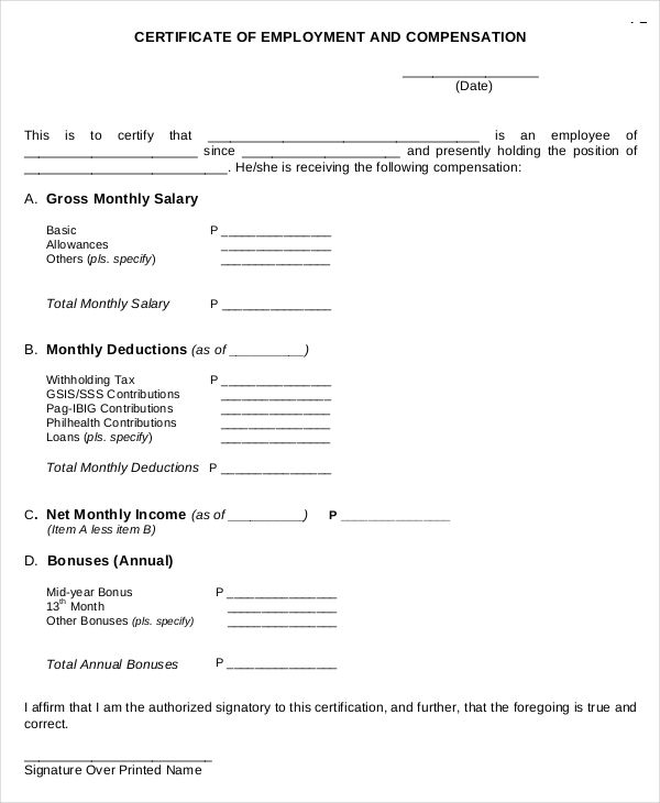 compensation certificate form filipino certification letter for proof recommendation residency letters