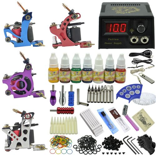 Professional tattoo machines power supply cord foot aluminum handle hook line disposable needle mouth cups pigment frame Kit #Affiliate