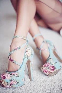 Ladies Pastel blue floral shoes