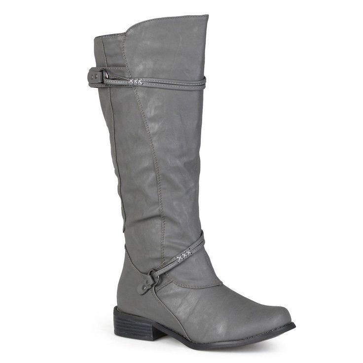 Women's Journee Collection Extra Wide Calf Ankle Strap Buckle Knee-High Riding Boots - Grey 9 Extra Wide Calf