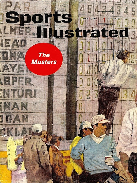 1961 Sports Illustrated Cover by Bernie Fuchs. Brilliant painting technique, great awkward composition & that lettering in the background fantastic.