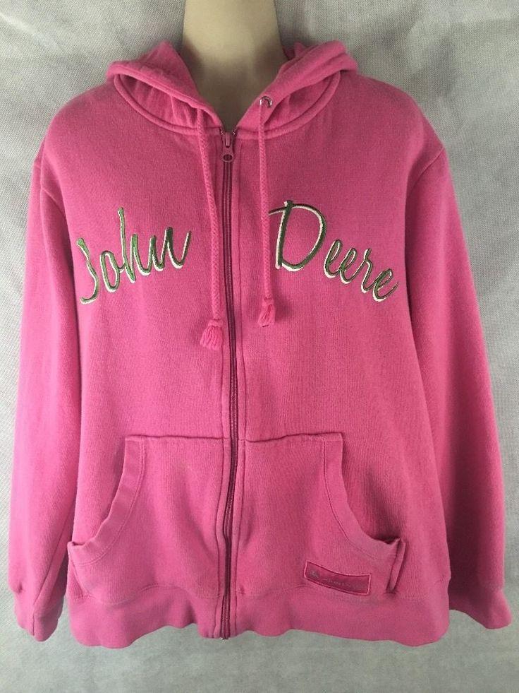 John Deere  Women's Pink  Zip Up Sweatshirt Hoodie Size Large 12/14  #JohnDeere #Hoodie
