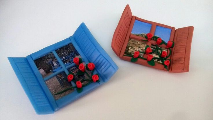 Polymer clay windows with vew of Chios island