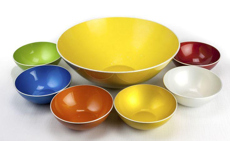 Mid-Century Modern Emalox Norway Enameled Aluminum Bowls Set of 7