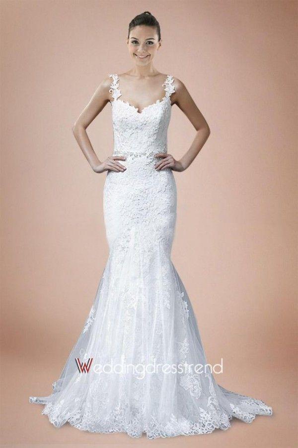 Best Brilliant Straps Court Train Lace Wedding Dress - Beautiful Wedding Dresses Wholesale and Retail Online
