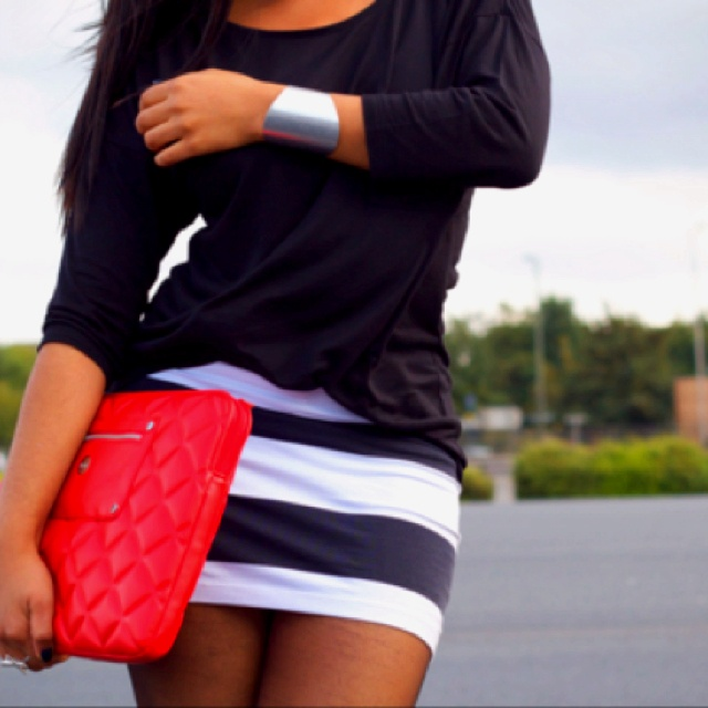 Love: Dreams Closet, Navy Stripes, Color Combos, Clutches, Stripes Skirts, Color Combinations, Cute Outfit, The Navy, Bags