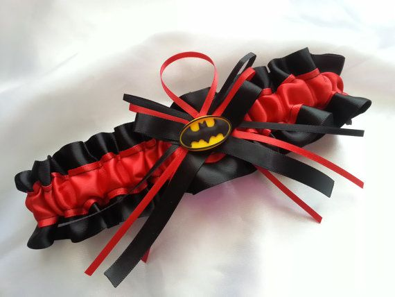 Batman Themed Wedding Garter Red And Black By AussieWeddingGarters 2100