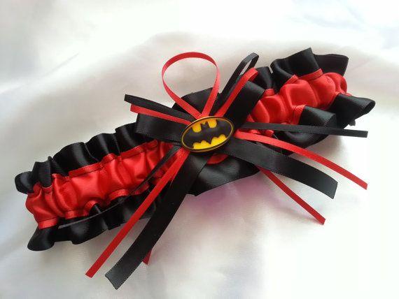 Batman Themed Wedding Garter Red And Black By AussieWeddingGarters 2100