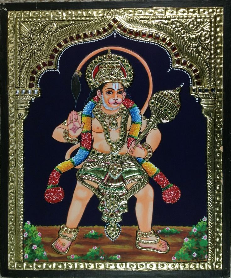Tanjore Hanuman Artwork. In Tanjore paintings one can see the influence of Deccani, Vijayanagar, Maratha and even European styles of painting. Both religious and secular subjects are depicted in Tanjore paintings.