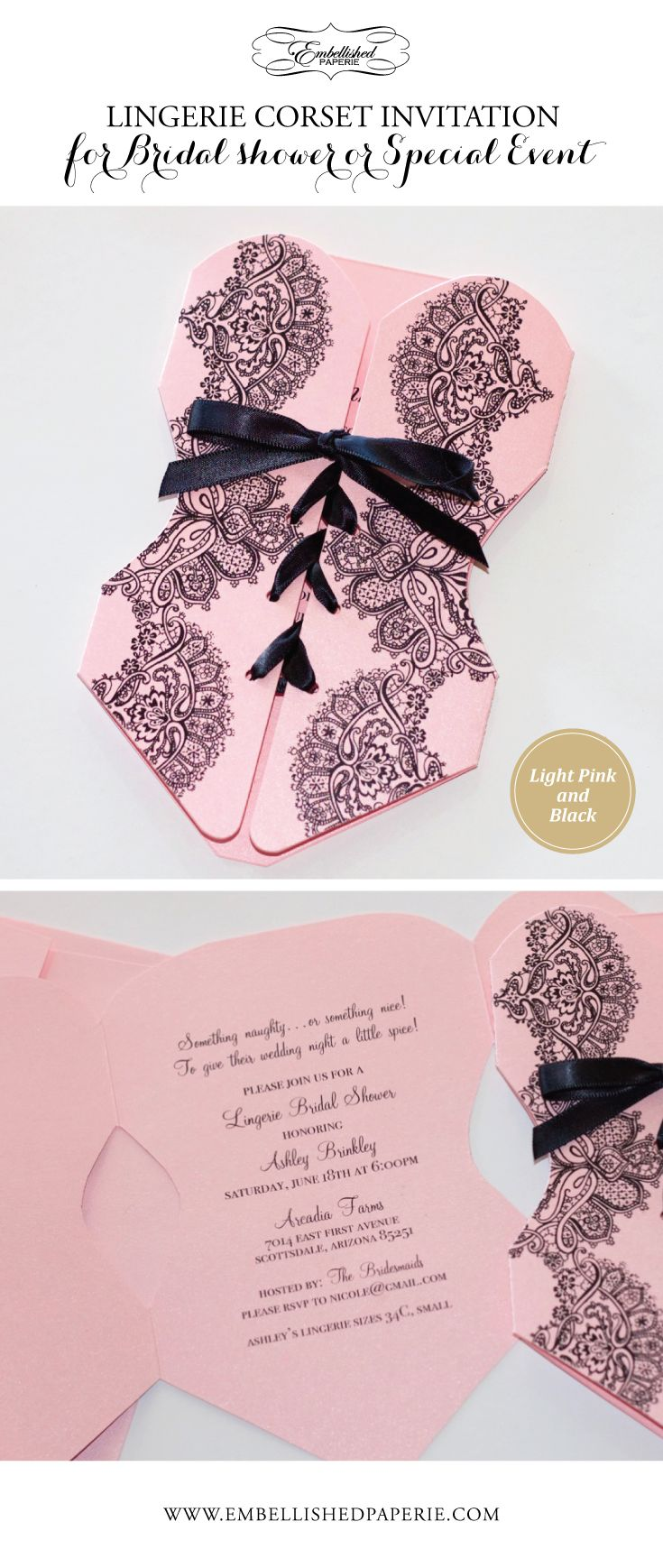 Corset Invitation for a Lingerie Bridal Shower - Light Pink metallic card stock and Black satin ribbon. Can also be used for a Bachelorette Party. www.embellishedpaperie.com