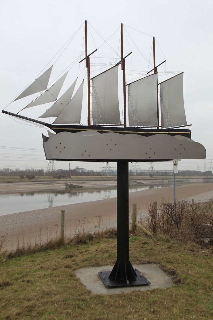 The steel sculpture of the Kathleen and May on the Wales Coast Path at Connah's Quay
