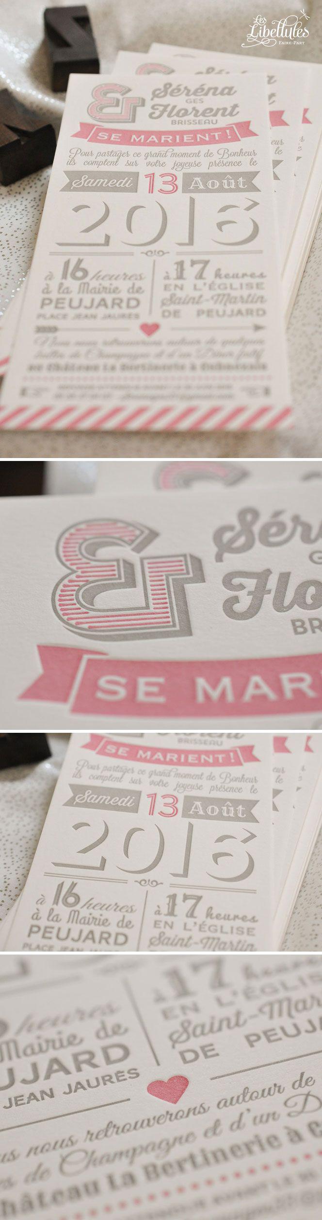 """Magnifique Faire-part mariage """"Déclaration"""" en Letterpress, en jeu de typographies vintage et tendance. Tout en longueur, il est gris chaud et vieux rose, imprimé sur papier 100% coton tellement doux // Gorgeous Letterpress wedding invitation with a mix of vintage font, in grey and dust pink. Printed on oh so soft cotton paper. www.Les-Libellules.fr"""