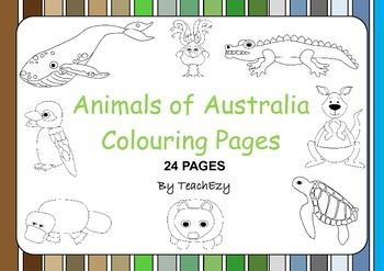 Australian Animals Colouring - 24 Australian Animals to colour (or color).