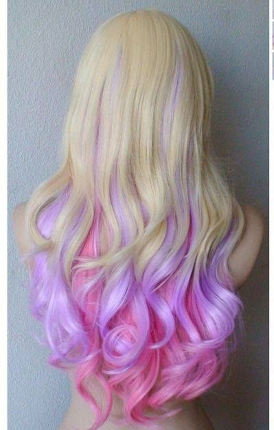 ..... Blonde and pink & purple ombre hair. waves