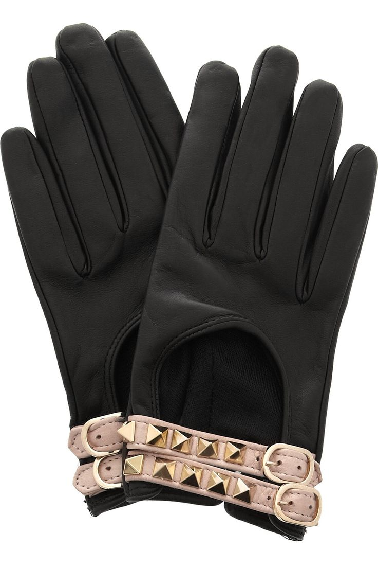Black leather gloves with red buttons - Leather Driving Gloves Valentino Bc I Would Never Have A Place To Actually Wear These But Just