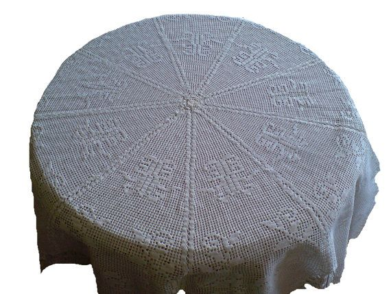 OOAK... Round tablecloth handmade crocheted with by woolopia, $350.00
