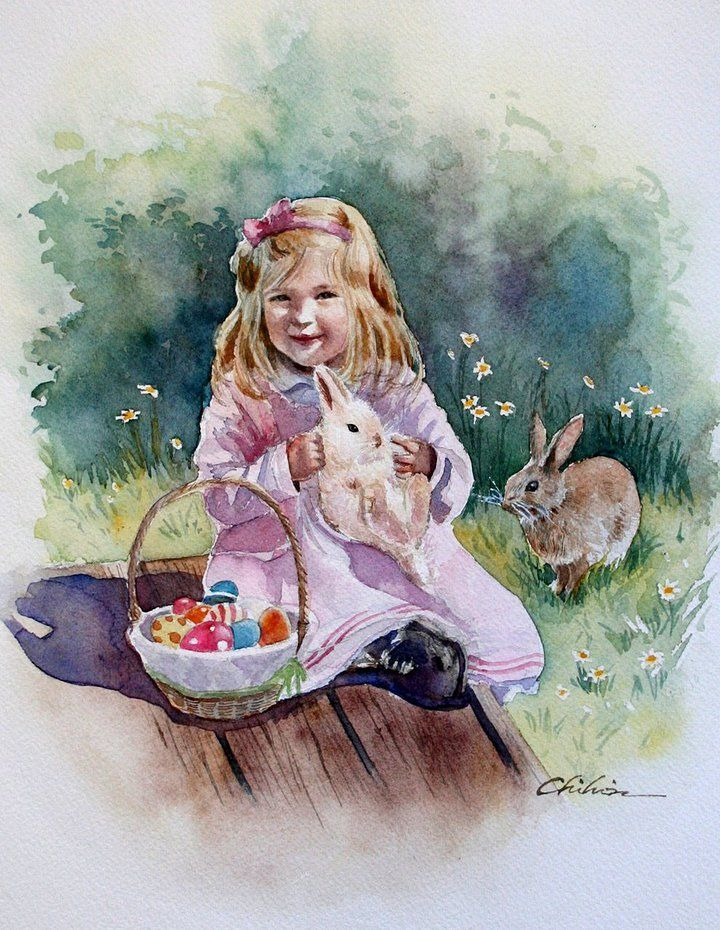 Chihiro Yabe   WATERCOLORFavorite Artists, Art Watercolors, Art Iii, Mary Chihiro, Chihiro Yabe, Watercolors Art, Inspiration Art, Artists Water, Happy Easterh