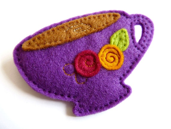 Felt Teacup Brooch