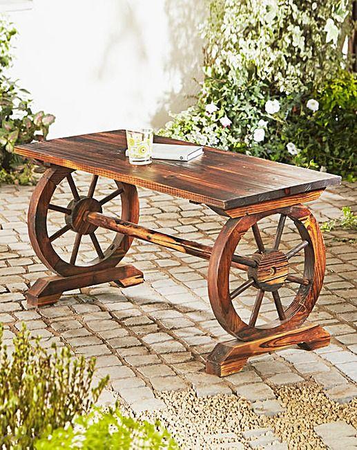 Cartwheel Wooden Garden Table | Home Essentials