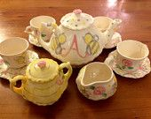 Honey Bees, Bee Hive & Rosebuds Tea Party Personalized Little Girl's Child's  Tea Set, 4 Tea Cups Handpainted
