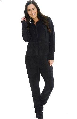 Del Rossa Women's Fleece Hooded Footed One Piece Onesie Pajamas (Black) #pjs #sexy #sleepwear #lounge