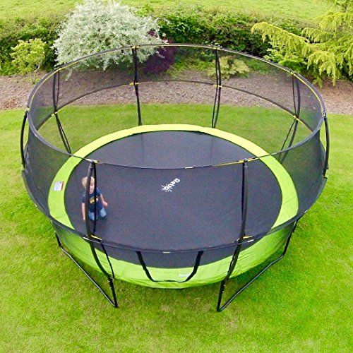 Rebo 10FT Trampoline with Enclosure - V2 Fun Jump or Air Launch 4K - Includes Accessories (10FT Base Jump (Green))