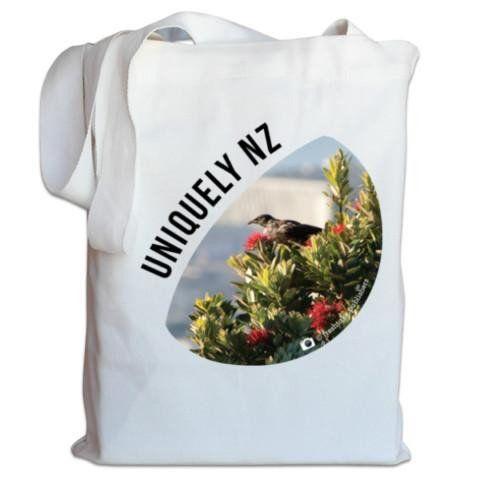 NZ Canvas Bag - Uniquely NZ - Tui and Pohutukawa Photo