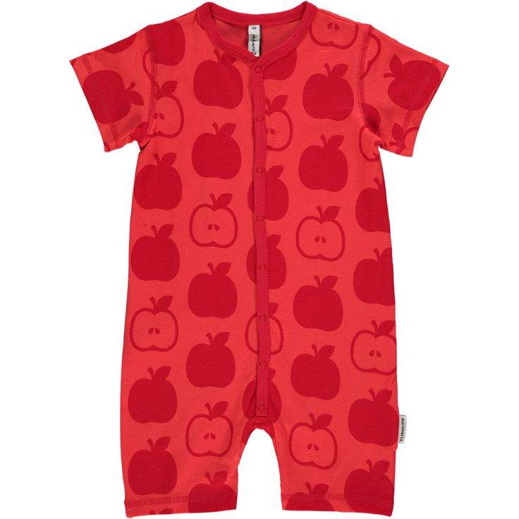 Red Apples Rompersuit Monochromatic Kids Clothes by Maxomorra. Organic Cotton Kids Clothes. Offered in Canada by Modern Rascals.