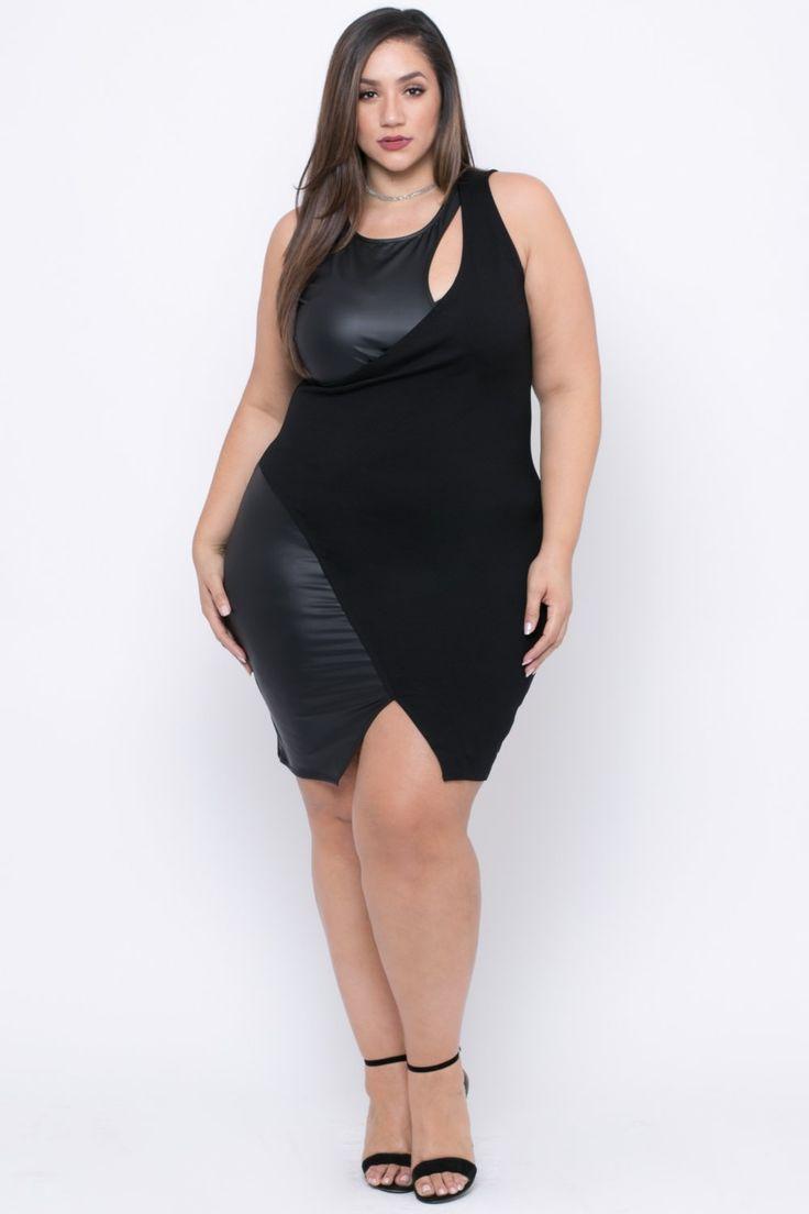Plus Size Peekaboo Cocktail Dress - Black