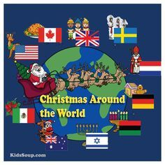 """Join KidsSoup and Santa Claus as he visits 10 different countries and brings back souveniers (see emergent reader booklet """"Santa, Santa, What Can You See?).Invite children on a trip around the world to visit other continents and countries and experience"""