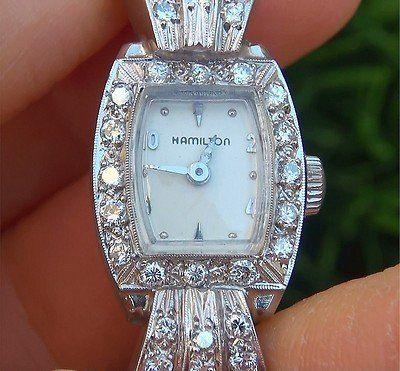 antique and vintage ladies watches for sale   Estate Vintage Antique Hamilton Ladies Platinum Vs Diamond Art Deco ...