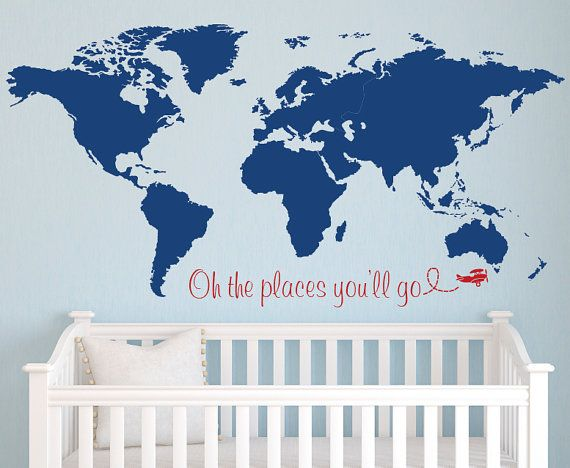 World Map Wall Decal  Nursery Wall Decal  Baby by PinkiePeguinShop