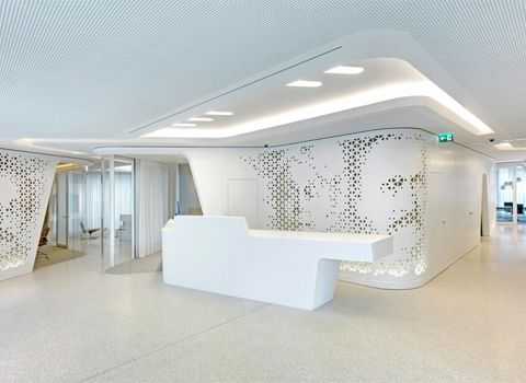Raiffeisen Bank portraits milled into wall panels