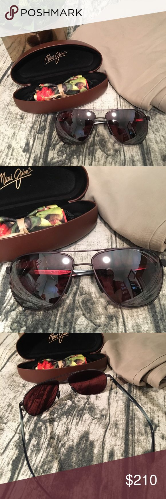 Maui Jim Men's Polarized Sunglasses 🕶 Brand new Maui Jim men's polarized sunglasses. Black and matte gray sunglasses. These sunglasses include the hard case, and tropical print lense cleaning cloth. Great pair of sunglasses for all year round! 🕶 Maui Jim Accessories Sunglasses