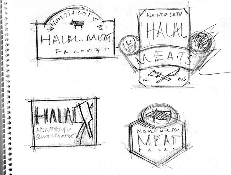 Pencil scribbles for Halal Meat northcote LOGO design