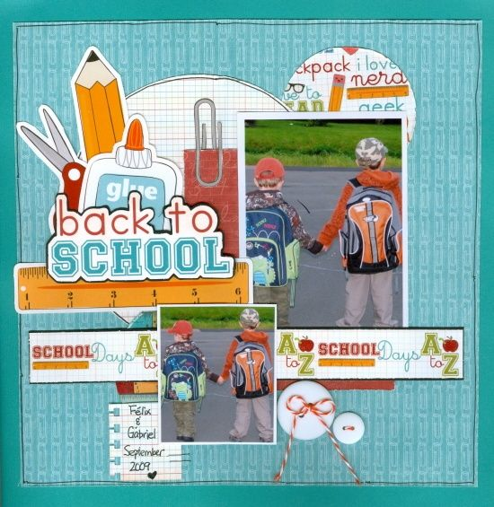 school scrapbook layouts   ... Scrapbook.com - Wonderful back to school page. #scrapbooking #layout #