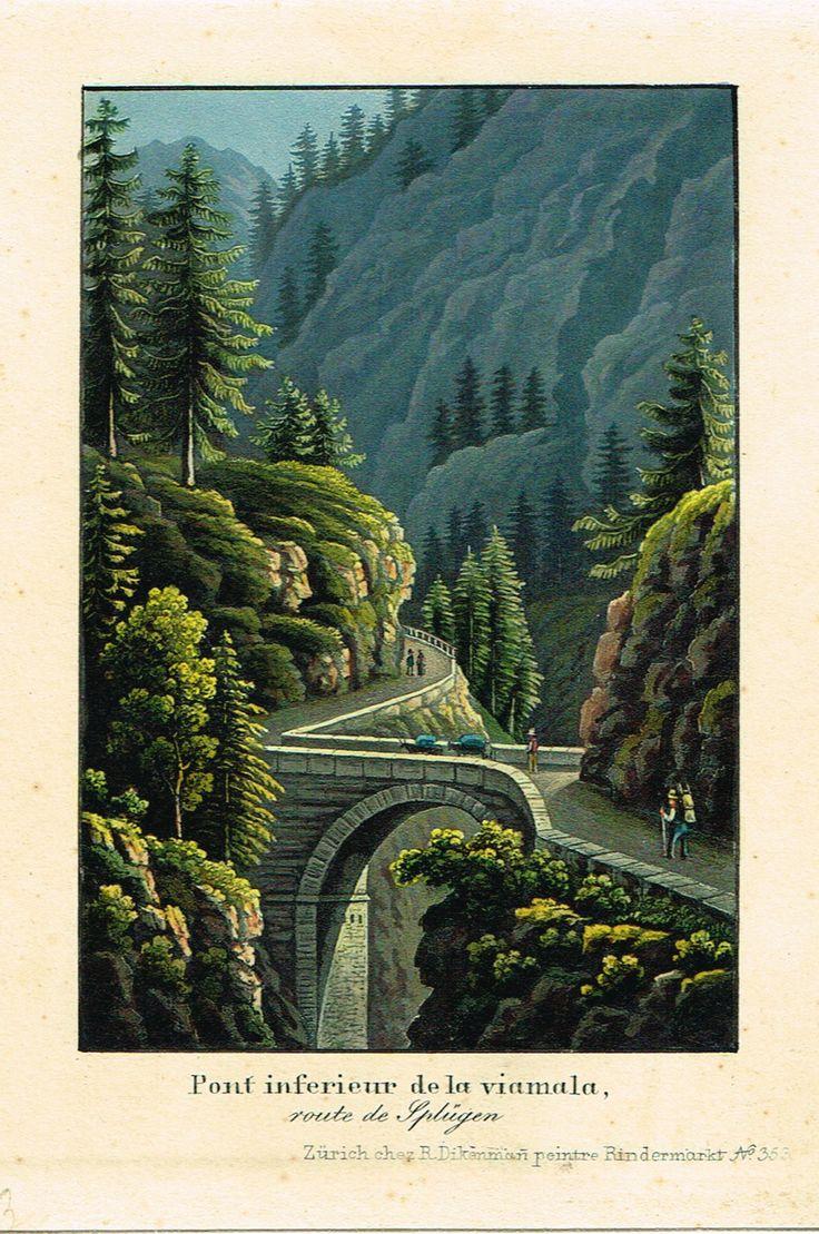 Pont inférieur de la viamala, route de Splügen - Zurich chez R Dikenmañ, peintre Rindermarkt N°353 - Aquatinte XIXème - MAS Estampes Anciennes - MAS Antique Prints