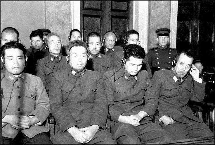 Khabarovsk War Crime Trials (December 25 - 31, 1949) where twelve members of the Japanese Kwantung Army were tried as war criminals for manufacturing and using biological weapons during World War II. All twelve accused war criminals were found guilty, and sentenced to terms ranging between two and twenty-five years in a labour camp. All were repatriated to Japan in 1956. Source: Wikipedia