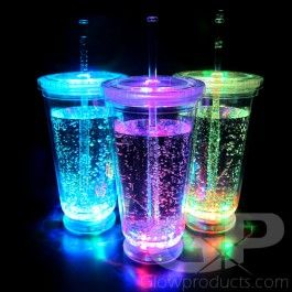 Spill Proof Glowing LED Drink Glasses with Lid and Straw - https://glowproducts.com/us/light-up-led-no-spill-glow-cup #GlowParty #GlowDrink