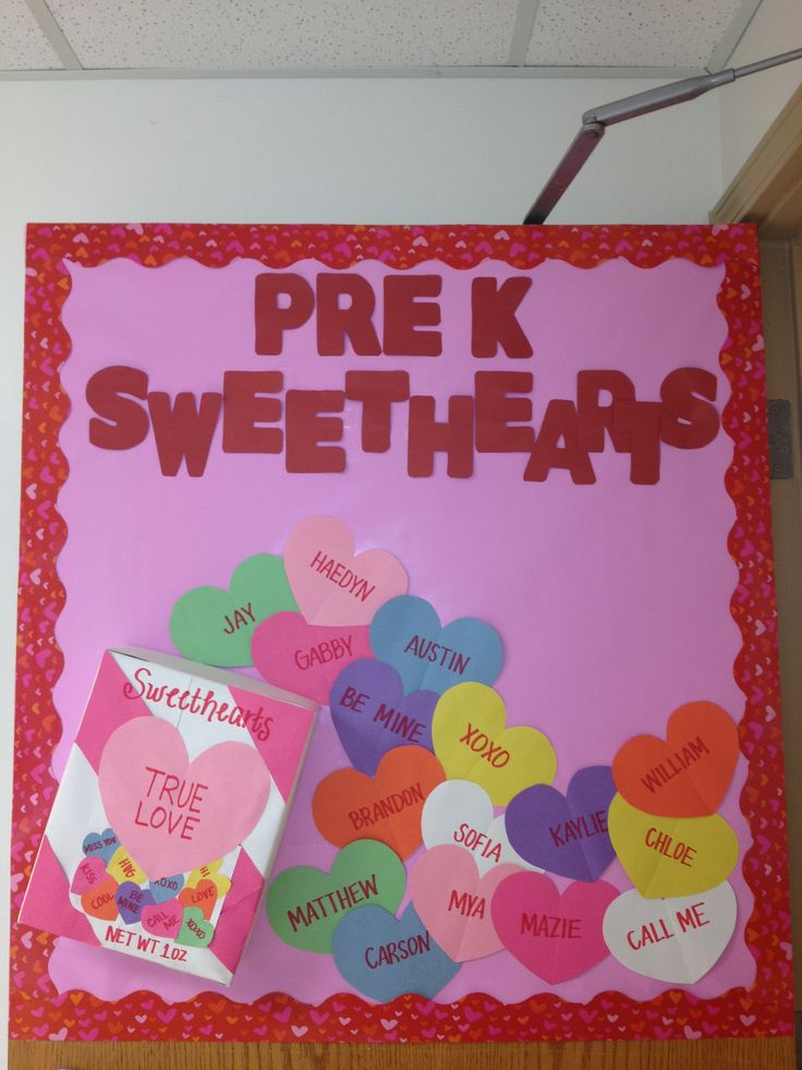 Cute Valentine's Day bulletin board! Instead of just putting the usual words on the hearts, you could put information on them about anything you want!