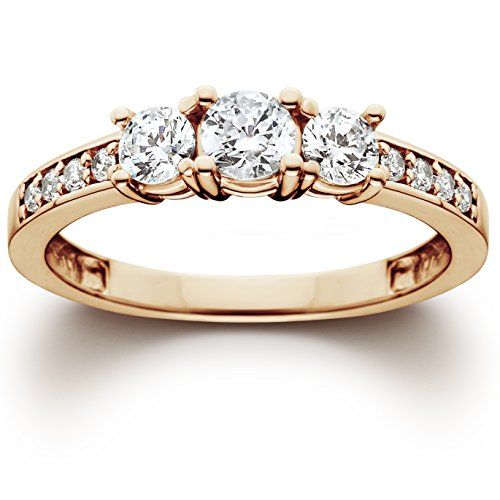 Engagement Rings Simple | 1ct 3 Stone Diamond Engagement Ring 14K Rose Gold -- Read more reviews of the product by visiting the link on the image. Note:It is Affiliate Link to Amazon. #followshoutoutlikecomment