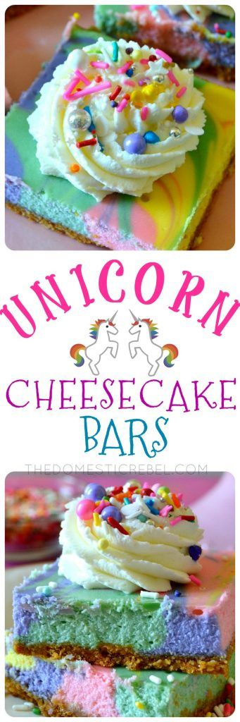 UNICORN Rainbow Cheesecake Bars are so much FUN and SO EASY to make - promise! Buttery graham cracker crust topped with a super light, fluffy and creamy vanilla rainbow cheesecake. A stunning, show-stopping dessert that feeds a crowd!