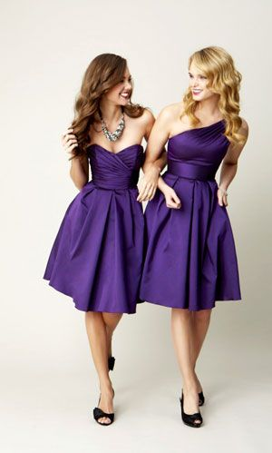 bridesmaid dresses. if you do different tops then the color, fabric & hemline should be the same. mor coherent not all over the place, will look better in photos.