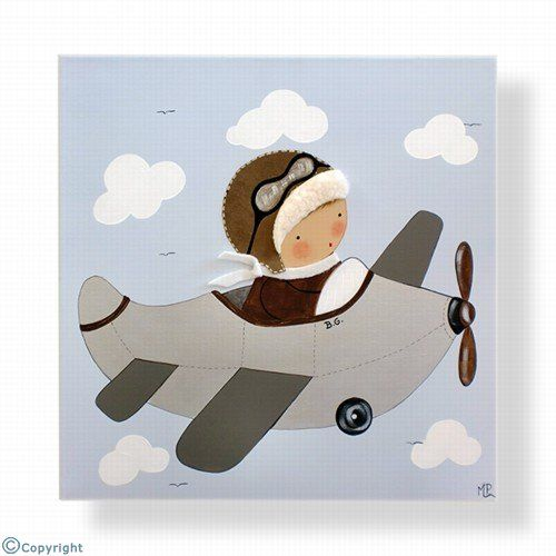 Cuadro infantil personalizado: Niño aviador (ref. 12000-02)