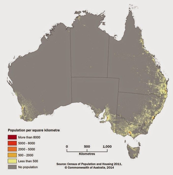 See how large areas of Australia's interior are devoid of people : Population Grid of Australia [680 x 688]