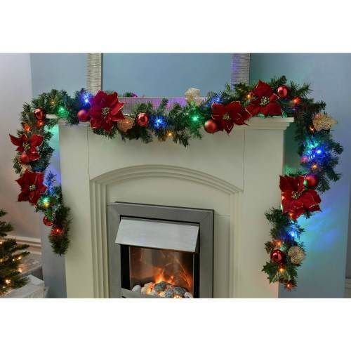 9Ft Garland Pre -Lit Christmas Decoration Red Gold Multi Colored Led Lights Home