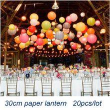 Venta al por mayor ( 20 unids/lote ) 12 '' ( 30 cm ) envío gratuito linterna de papel china Festival de la lámpara decoración del banquete de boda blanco linternas(China (Mainland))