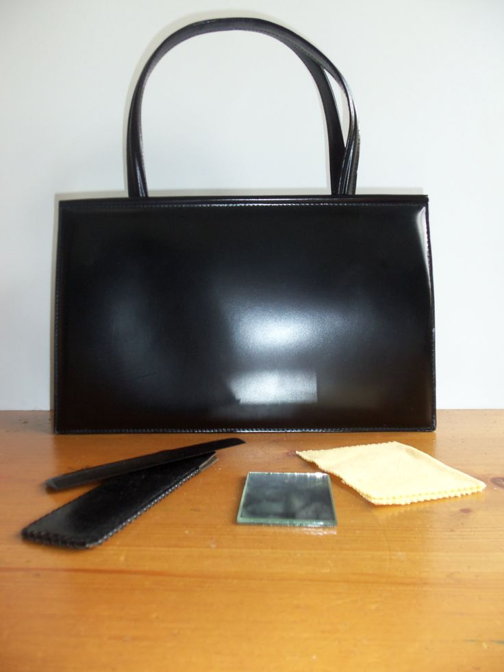 patent leather bag including the comb and mirror from the 1940