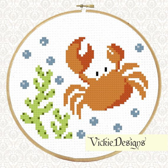 Sea Crab Underwater Animals Seaweed Cute Cross Stitch Pattern PDF