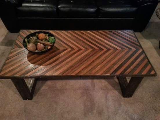 Chevron coffee table reclaimed oak chevron by VilesWoodworking
